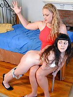 Madison spanked by Harmony her Boss